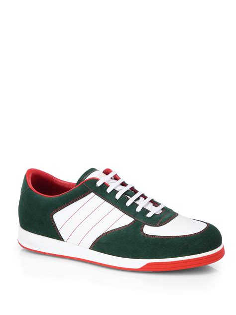 Gucci Sneakers lyst gucci suede anniversary sneakers in green for