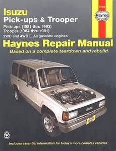 Isuzu Truck Service Manual Isuzu Trooper Repair Manual 1981 1993 Haynes 47020