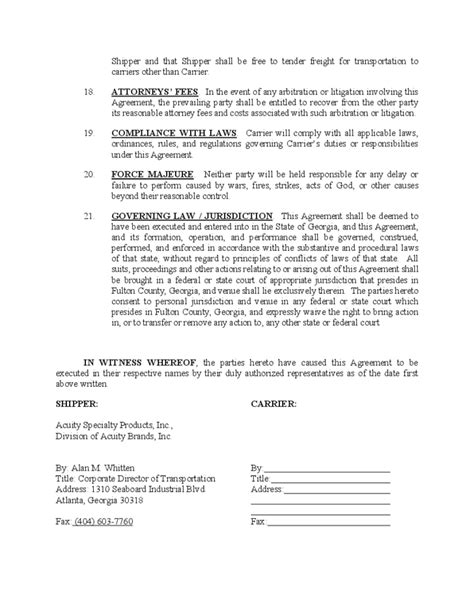Contract Carrier Transportation Agreement Free Download Carrier Agreement Templates