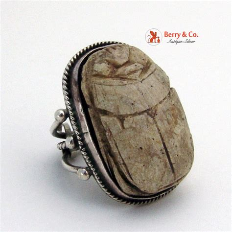 large scarab mens ring coin silver carved sandstone scarab