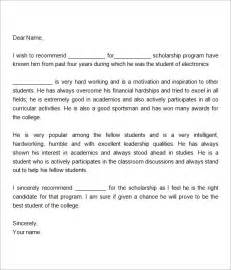 scholarship letter of recommendation template sle letter of recommendation for scholarship 10 free