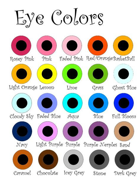 printable eye color chart eye colors by exbp on deviantart