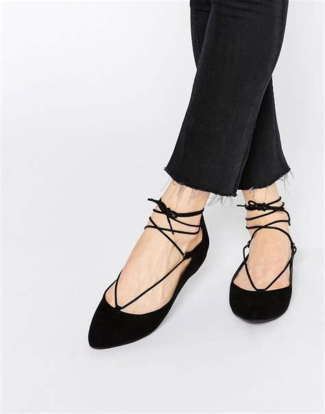 flat shoes lace up new look new look lace up ballet flat shoe at asos