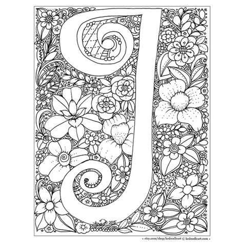 coloring pages for adults letter t instant digital download adult coloring page letter i