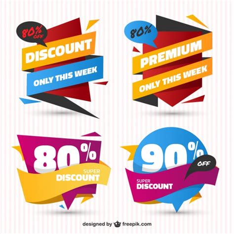 design free stickers pack of sale stickers in flat design vector free download