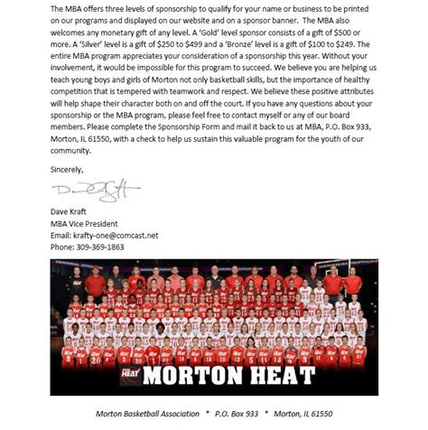 Sponsored Mba Programs by Become A Mba Sponsor Morton Basketball Association