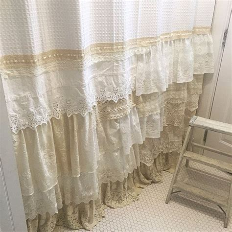 shabby chic ruffled curtains shabby chic shower curtain white ivory lace ruffle