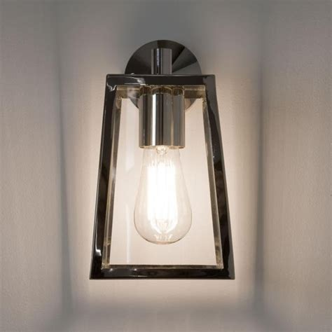 Chrome Outdoor Lighting Ext Wall Lantern Clear Glass H 280mm