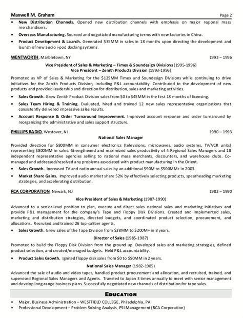 resume exles for sales and marketing resume sle 5 senior sales marketing executive
