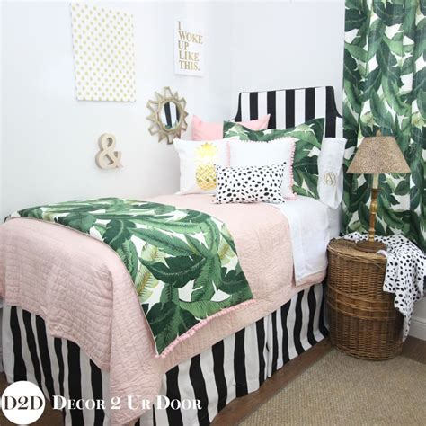 palm bedding palm leaf black white blush pink quilt designer teen