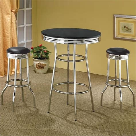 retro high top table and stools coaster cleveland 50 s soda 3 pc pub table set