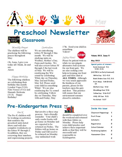monthly preschool newsletter template preschool newsletter sle free