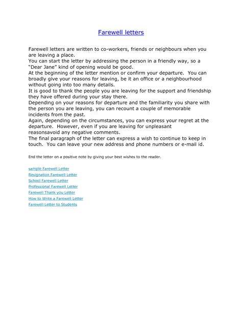 general resume 187 goodbye letter resignation cover letter