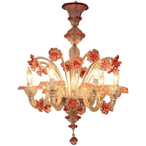 Handmade Chandeliers - venetian glass six light handmade chandelier for sale at