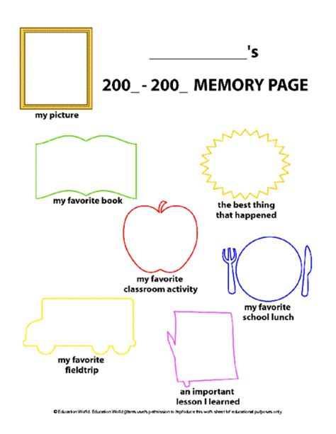 memory template education world student memory page template