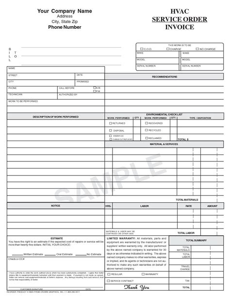 Free Hvac Invoice Template Free Invoice Template Hvac Invoice Template Invoice Pinterest Hvac Business Plan Template