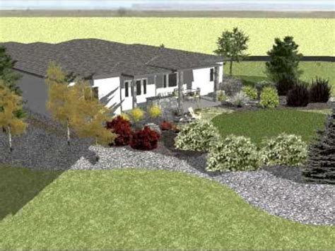 ranch style house 3d landscape design