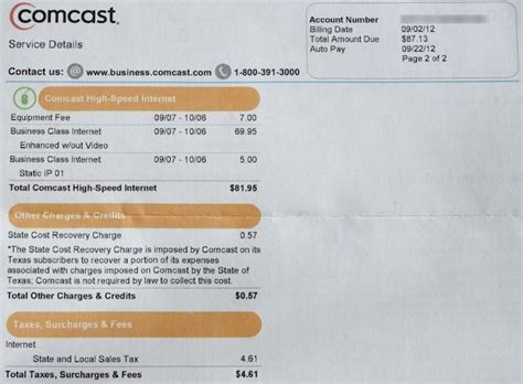 Cable Bill Template Bing Images Comcast Bill Template