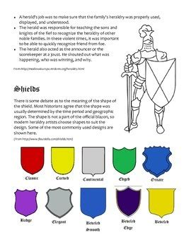 coat of arms color meanings heraldry packet coat of arms and shields tpt