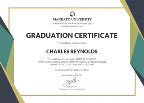 graduation gift certificate template free 18 graduation certificate templates word pdf documents