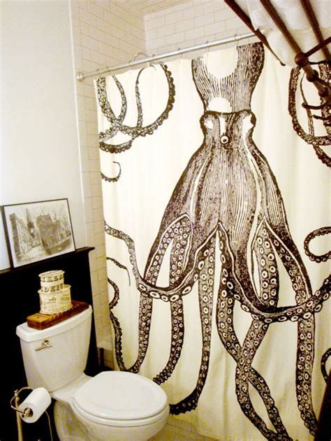octopus in bathtub octopus shower curtain eclectic bathroom design sponge
