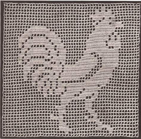 vintage crochet pattern to make mary fitch filet rooster motif square doily