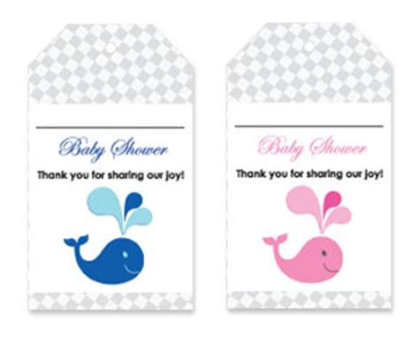 Thank You Card Template Baby Shower Tags by Whale Theme Printable Baby Shower Thank You Tags