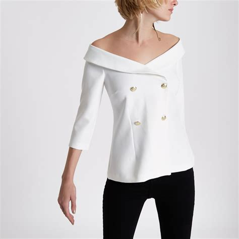 breasted top white shoulder breasted top bardot cold