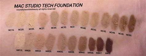 Mac Nw25 mac studio tech foundation review swatches of shades