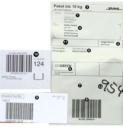 Hermes Paket Aufkleber by Infos Zum Dhl Paketschein Strichcodes Und Bestandteile