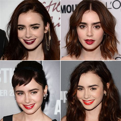 lily collins great hair and lip colour game is as famous as she is lily collins hair and makeup over the years popsugar