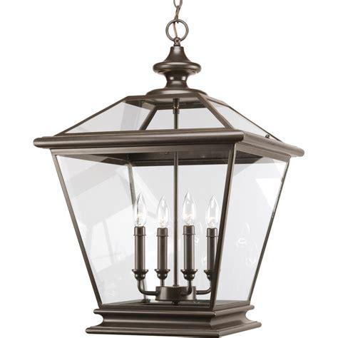 Bronze Foyer Light Progress Lighting Seeded Glass Collection 3 Light Antique