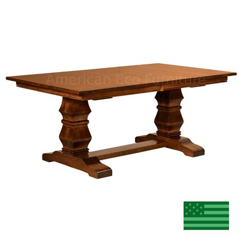 Dining Table Made In Usa Amish Solid Wood Heirloom Furniture Made In Usa Bailey Trestle Dining Table American Eco