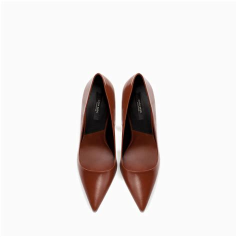Zara Shoes Brown zara leather court shoe in brown lyst