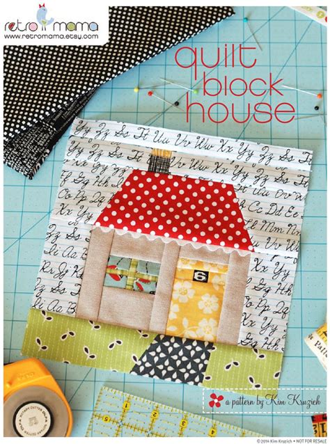 Patchwork Quilt Blocks Patterns - quilt block house patchwork pdf sewing pattern by retromama