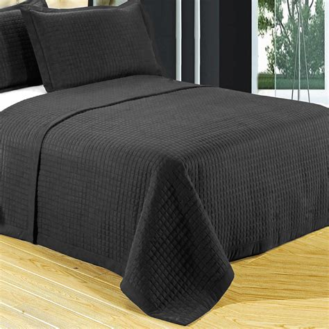 black quilts and coverlets 2 piece black microfiber twin coverlet set free shipping