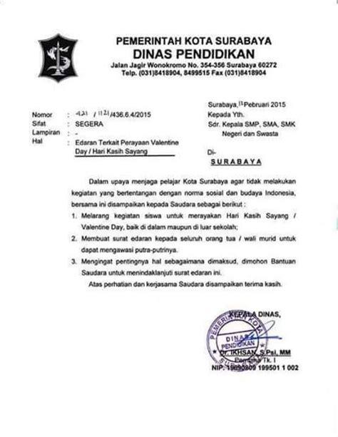 surat edaran dinas pendidikan kota surabaya terkait larangan perayaan