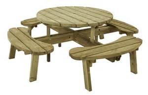 table pique nique rond 216 118 cm en bois autoclave avec 4 bancs