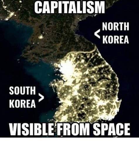 North Korea South Korea Meme - capitalism north korea south korea visible from space