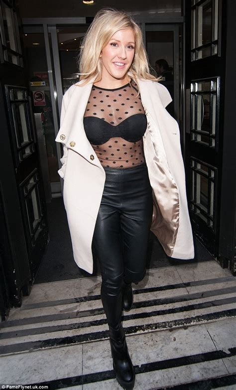 Black Bra Sheer White Blouse by Ellie Goulding Shows Strapless Bra A Sheer