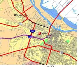 Savannah Zip Code Map by Savannah Georgia Zip Code Map