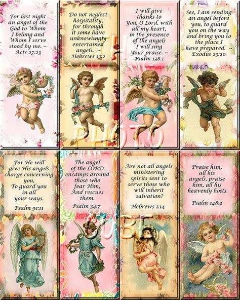 free printable angel bookmarks beautiful quot angels with bible verses quot vintage art bookmarks