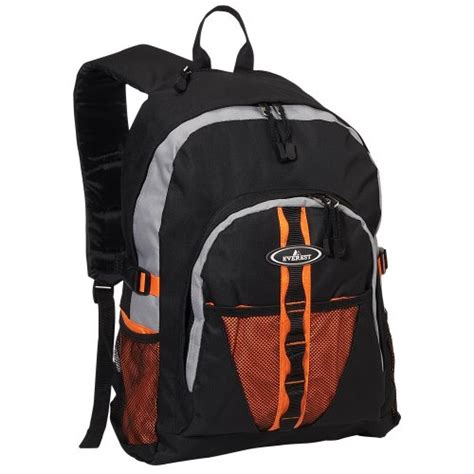 everest luggage backpack with dual mesh pocket orange gray black orange gray black one size