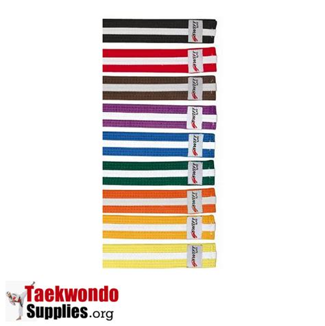 karate belt order of colors taekwondo colored rank belts with white stripe for