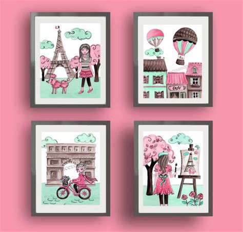Parisian Nursery Decor Decor Baby Nursery Decor Pink By Terezief
