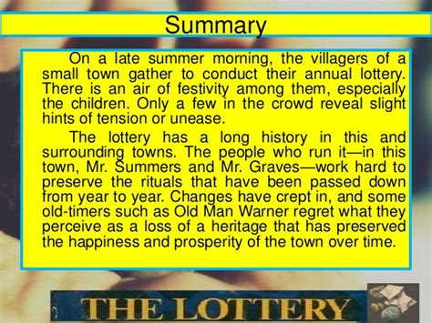 thesis for the lottery literary analysis the lottery and shirley jackson