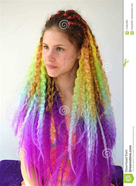 colored kanekalon hair a with a fashionable set of multicolored braids