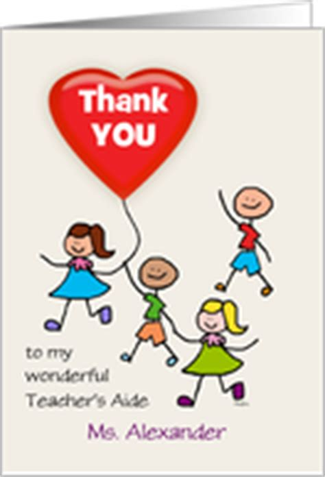 Thank You Letter To Teachers Aide Thank You S Aide Cards From Greeting Card Universe