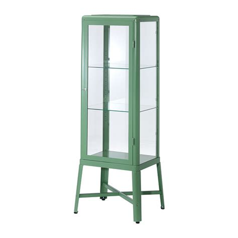 fabrik 214 r glass door cabinet light green ikea