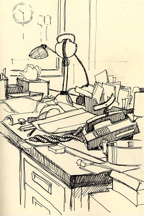sketch of the day desk